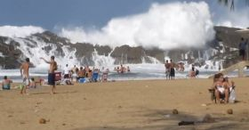 Camera Catches Massive Wave In Puerto Rico