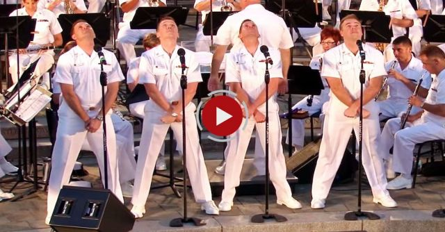 4 Navy sailors strike a pose, but when the 5th guy starts up, the fun begins