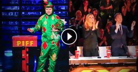 Piff The Magic Dragon: Comedic Magician Kisses Heidi Klum - America's Got Talent 2015