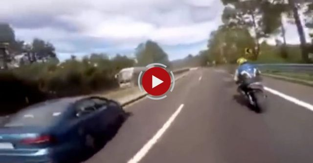 Woman Pulls The Hand Break On A Car While Her Boyfriend Was Racing Down A Mexican Highway