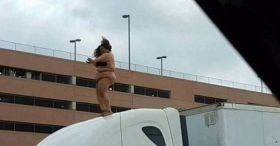 Woman Dances On Top Of Semi-Truck, Shuts Down Highway