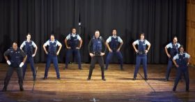 9 cops assume position. When they get started, you'll dance in your chair